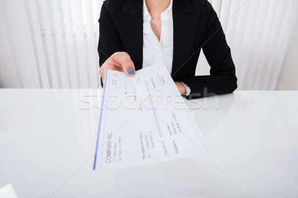 деловая женщина предлагающий проверка фото счастливым служба Сток-фото © AndreyPopov