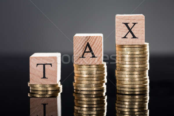 Ahşap mektup üst madeni para vergi Stok fotoğraf © AndreyPopov