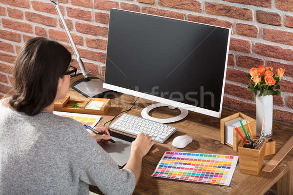 Woman Using Computer Stock photo © AndreyPopov