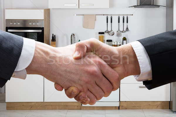 Realtor Shaking Hands With Businessman In Kitchen Stock photo © AndreyPopov