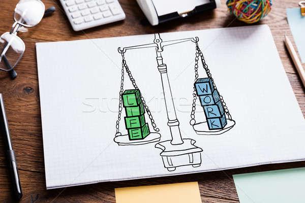 Stock photo: Work Life Balance In Notepad