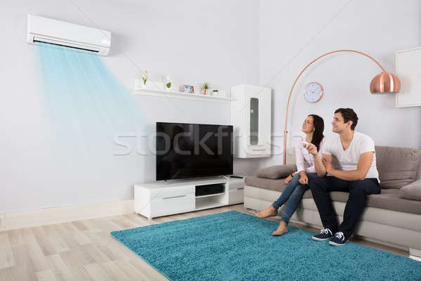 カップル 空調装置 笑みを浮かべて 座って ソファ ストックフォト © AndreyPopov