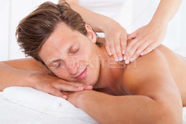 Adam terapi gömleksiz yüz gözler Stok fotoğraf © AndreyPopov