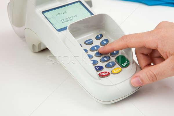Ujj tő kód kártya olvasó gép Stock fotó © AndreyPopov