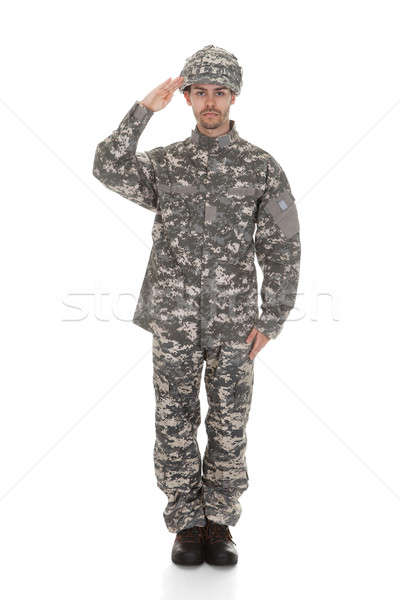 Young Army Soldier Saluting Stock photo © AndreyPopov