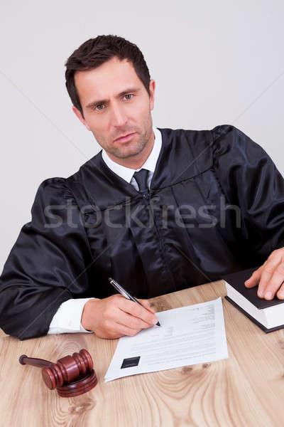 Férfi bíró tárgyalóterem ír papír boldog Stock fotó © AndreyPopov