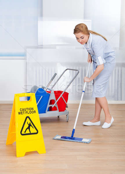 Happy Maid Cleaning Floor With Mop Stock photo © AndreyPopov