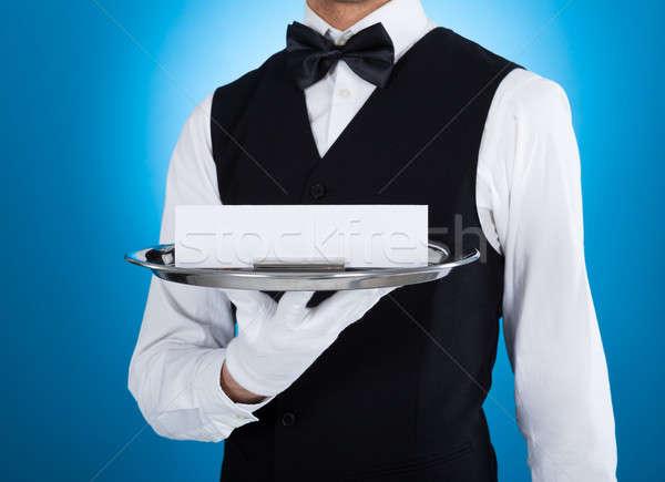 Garson gümüş tepsi boş kart genç Stok fotoğraf © AndreyPopov