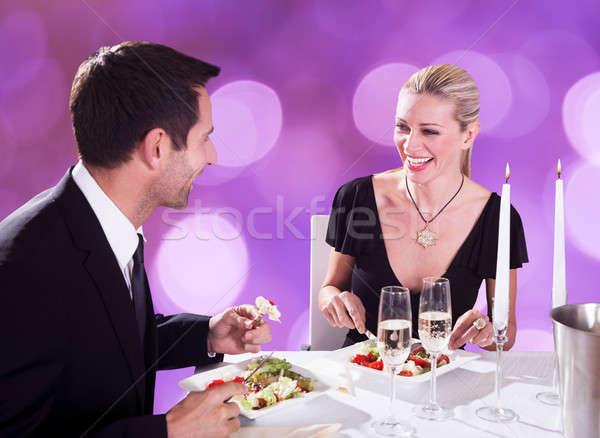 Pareja luz de una vela cena restaurante feliz Foto stock © AndreyPopov