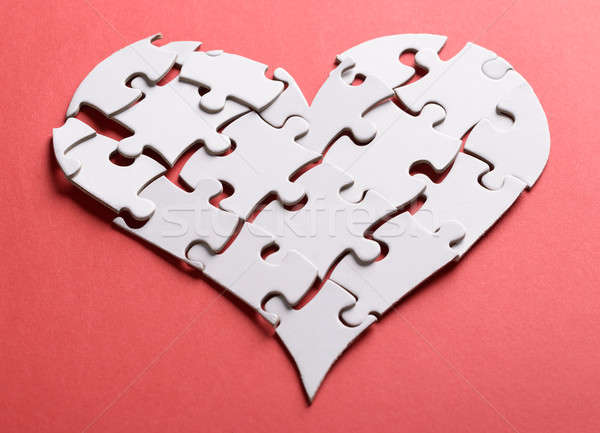 Stock photo: Broken Heart Made Of Puzzle