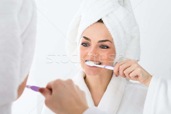 Сток-фото: женщину · халат · лице · зубов