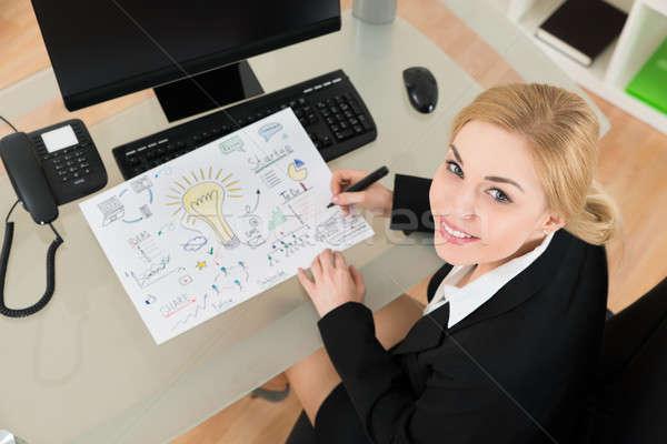 Empresária diagrama startup plano escritório Foto stock © AndreyPopov