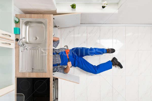 Werknemer vloer wastafel Stockfoto © AndreyPopov