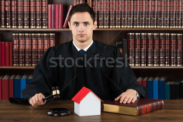 Confident Judge With House Model Hitting Gavel At Desk Stock photo © AndreyPopov