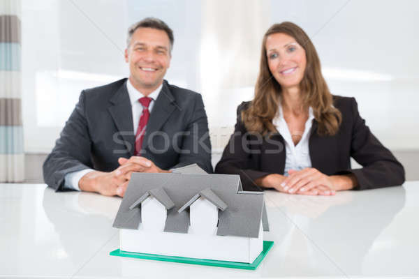 Businesspeople Looking At House Model On Desk Stock photo © AndreyPopov
