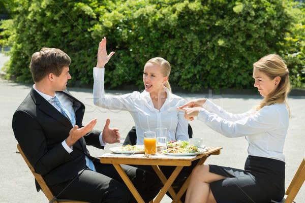 üzletemberek érv étterem éttermi étel üveg dzsúz Stock fotó © AndreyPopov
