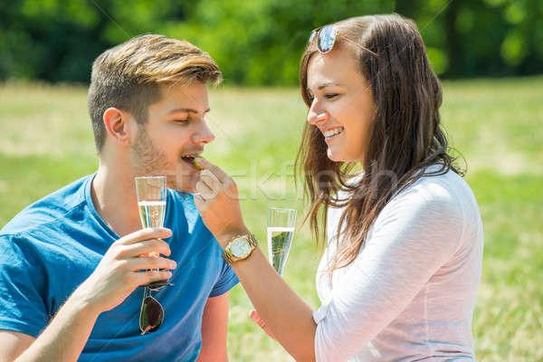 ストックフォト: 女性 · ブドウ · 彼氏 · ガラス · シャンパン