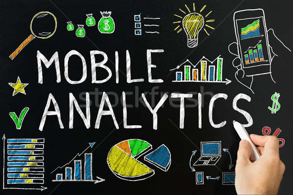 Mobile Analytic Concept Drawn On Blackboard Stock photo © AndreyPopov