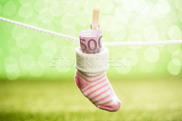 Baby sok dollar opknoping touw houten Stockfoto © AndreyPopov