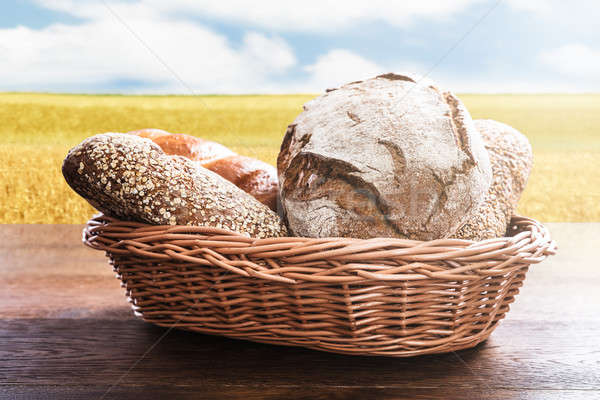 Variety Of Bread In The Basket Stock photo © AndreyPopov