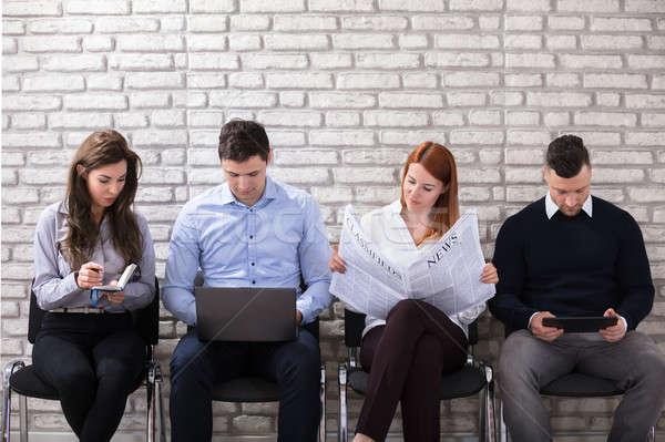 Jelölt vár állásinterjú csoport ül szék Stock fotó © AndreyPopov