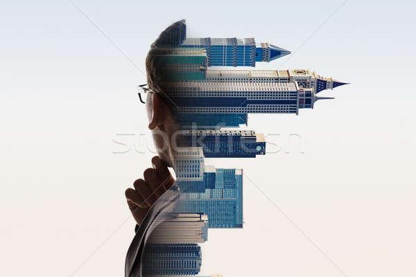 Digital composite miasta biznesmen portret budynku człowiek Zdjęcia stock © AndreyPopov