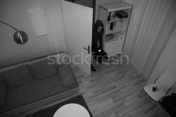 Rabló ház magasról fotózva kilátás kifejezéstelen férfi Stock fotó © AndreyPopov
