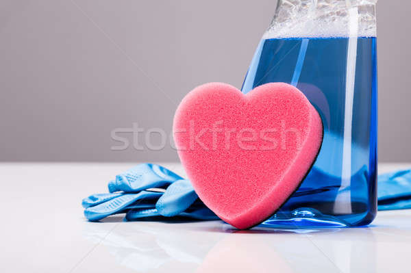 Cleaning Spray, Rubber Gloves And Heart Shape Sponge Stock photo © AndreyPopov