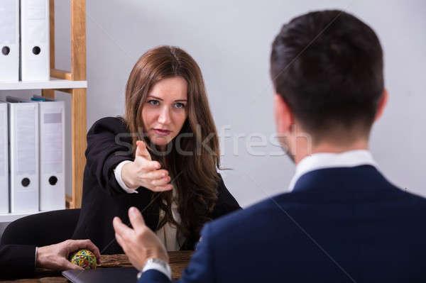 Zwei Geschäftsleute Gespräch jungen Arbeitsplatz Frau Stock foto © AndreyPopov