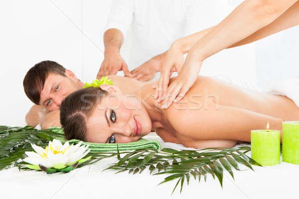 Happy Couple Getting Spa Treatment Stock photo © AndreyPopov