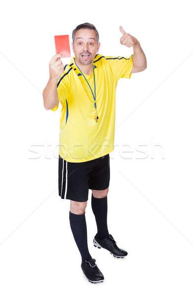 Futball döntőbíró mutat piros kártya fehér Stock fotó © AndreyPopov