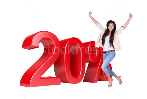 Exited Woman Jumping In Front Of 20% Sale Discount Stock photo © AndreyPopov