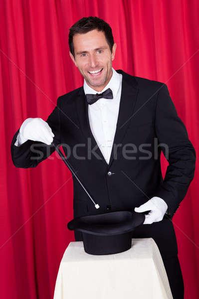 маг черный костюм пусто Top Hat Сток-фото © AndreyPopov