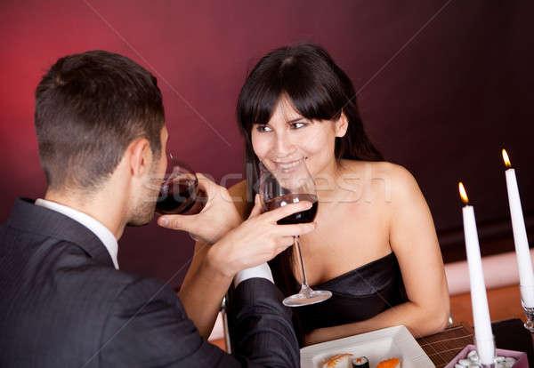 Para romantyczny obiedzie restauracji żywności Zdjęcia stock © AndreyPopov