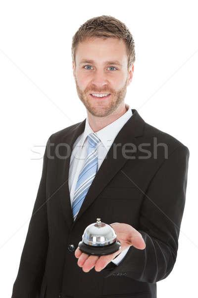 Stock fotó: üzletember · tart · szolgáltatás · harang · portré · fehér