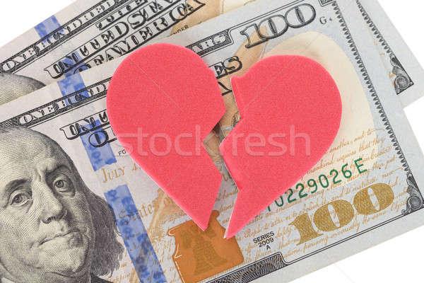 Stock photo: Broken Heartshaped On Us Currency