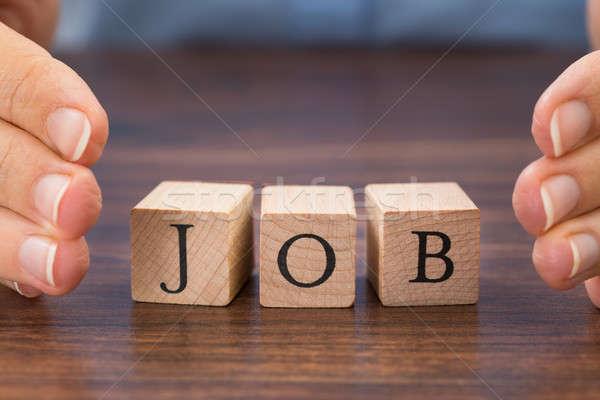 Person Hand Saving The Word Job Stock photo © AndreyPopov