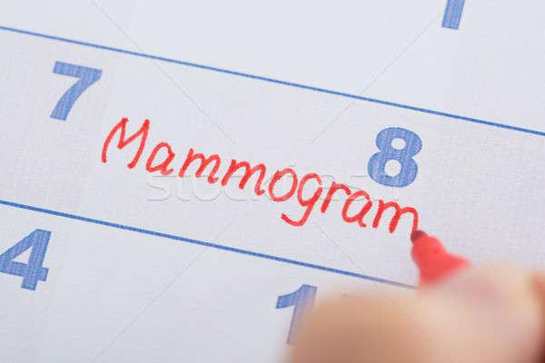 Hand With Mammogram Written On Calendar Stock photo © AndreyPopov