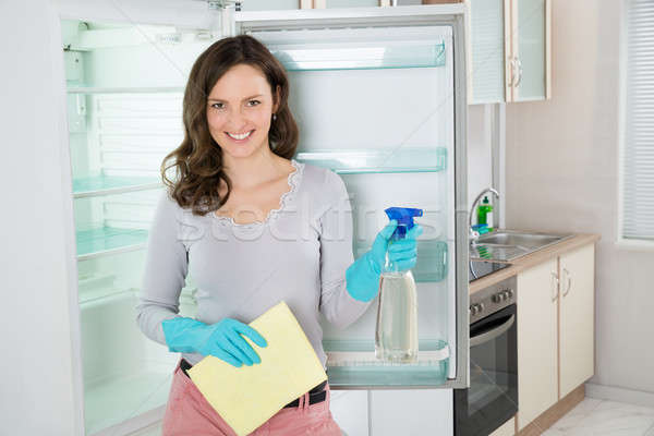 Woman With Rag And Spray Bottle Near The Fridge Stock photo © AndreyPopov