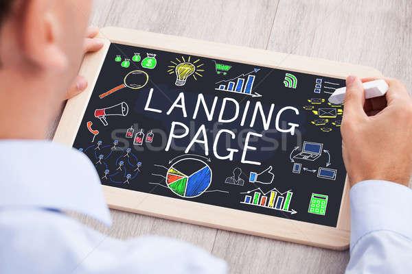 Empresário desenho aterrissagem página ver Foto stock © AndreyPopov