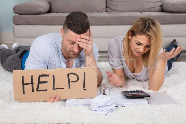 Frustrado Pareja ayudar signo Foto stock © AndreyPopov