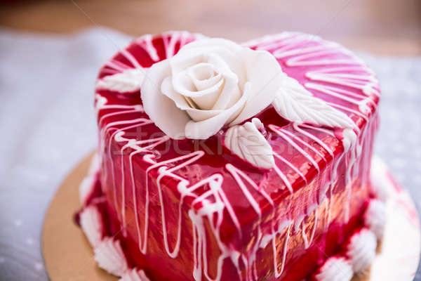 Heart Shape Red Cake Stock photo © AndreyPopov