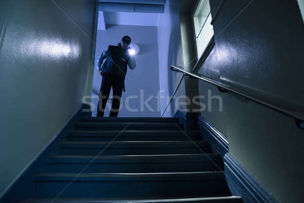 Security Guard With Flashlight Stock photo © AndreyPopov