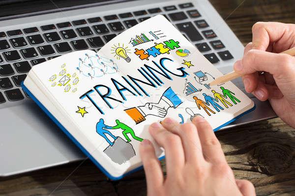事業者 図面 訓練 グラフ ノートブック クローズアップ ストックフォト © AndreyPopov