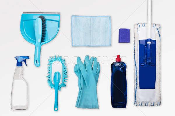 Magasról fotózva kilátás takarítás felszerelések fehér kék Stock fotó © AndreyPopov
