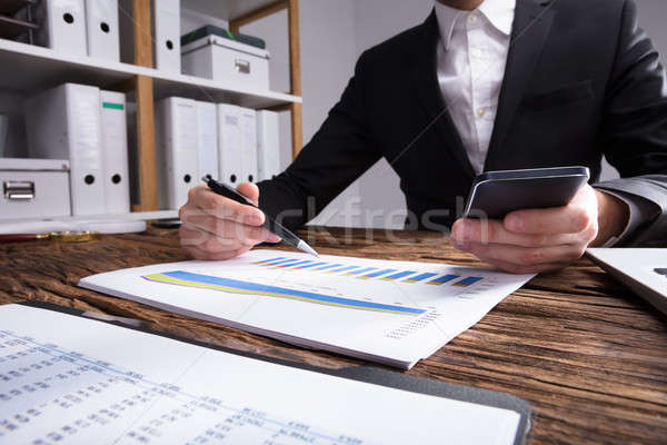 Businessperson Checking Financial Graph Stock photo © AndreyPopov