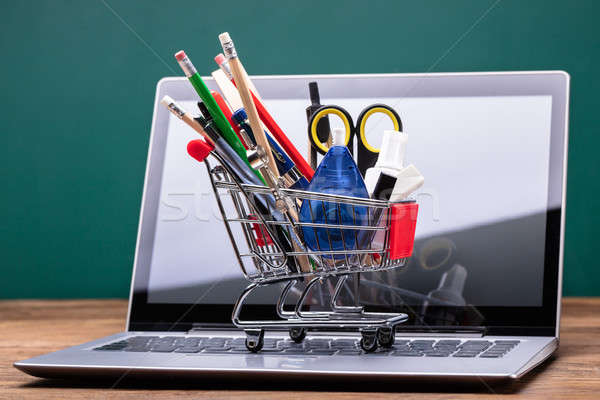 Stationery Items In Shopping Trolley Stock photo © AndreyPopov