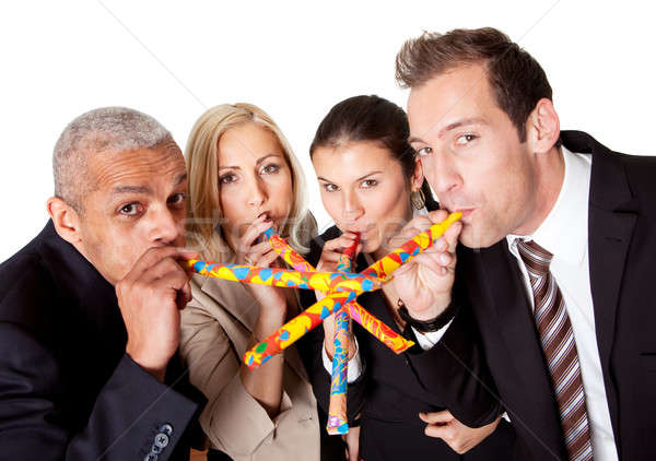 Business team celebrating birthday Stock photo © AndreyPopov