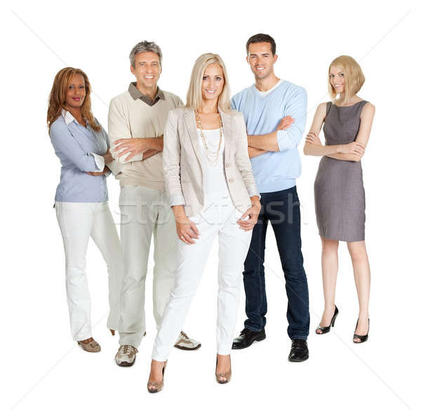 Casual group of people standing over white Stock photo © AndreyPopov