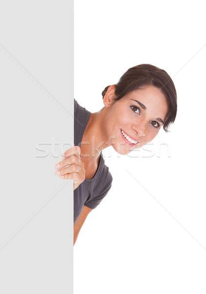 Stok fotoğraf: Kadın · fatura · tahta · mutlu · boş